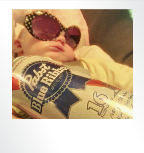 Maggie with sunglasses and a PBR