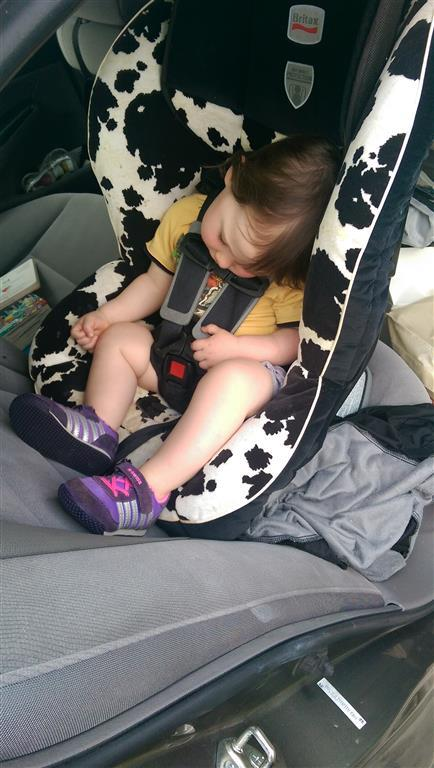 Maggie sleeping in the car seat